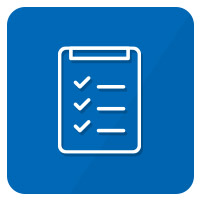 icon checkliste blau weiß