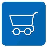 icon einkaufswagen blau weiß